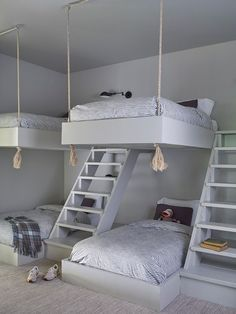 Bunkbeds designed by the architect wear Schoolhouse striped bedding. Bunk Bed Designs, Girl Bedroom Designs, Room Ideas Bedroom, Girls Bedroom, Bedroom Decor, Cute Room Ideas, Cute Room Decor, Bunk Bed Rooms, Bunk Beds