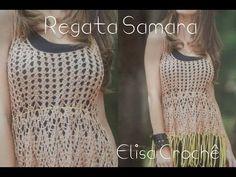 Versão destros : Regata Samara em crochê ( alças) # Elisa Crochê - YouTube
