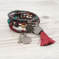 $57.00!!! Silk Road Gypsy Bangle Stack - Jewel Tones - 4 Bohemian Tribal Bracelets,  Silk Wrapped and Beaded