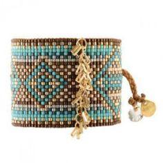 Bracelet manchette MISHKY CHAINED Rectangle turquoise marron