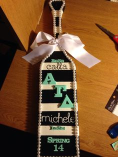 Sorority paddle I made my big!!! Big little black and white stripes pearls classy