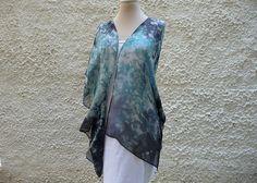 Kimono Jacket Evening Silk Jacket Boho Style Turquoise Blue Short Kimono Fashion Kimono Oversize For Wedding Cover Up Painted Kimono Silk