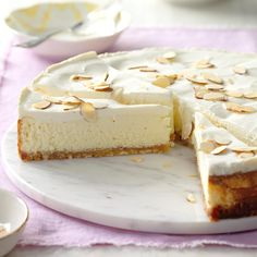 Luscious Almond Cheesecake Recipe - I received this recipe along with a set of springform pans from a cousin at my wedding shower 11 years ~ Potluck Desserts, Just Desserts, Delicious Desserts, Dessert Recipes, Potluck Ideas, Potluck Recipes, Sweet Desserts, Dinner Recipes, Yummy Food