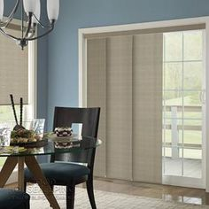Good Housekeeping Room Darkening Panel Track. Perfect for sliding doors. Adds more style than a typical vertical blind.  SelectBlinds.com