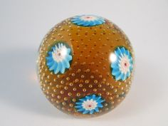 Vintage Amber Glass Paperweight with Bright by LadyRoseTreasures, $28.00