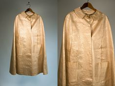 Vintage Vtg 1960's 60's Faux Snakeskin Cream Colored Swing Cape Mod Retro Handmade Gothic Grunge Strange and Unusual Women's One Size by thiefislandvintage on Etsy