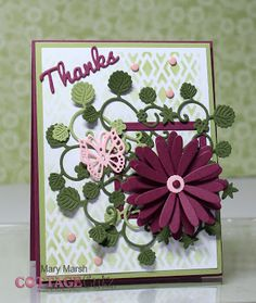 Mary's card using 3D flower #3, square set, thanks, butterfly with flowers and strawberry dies