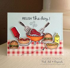 Lawn Fawn - Let's BBQ, Happy Summer, Stitched Rectangle Stackables _ amazing summer scene by Audrey at Pink Ink Originals