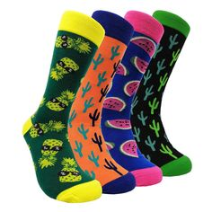 ca9f2fda375 Mens Funny Dress Socks Funky - HSELL Men Colorful Crazy Pattern Crew Cotton  Socks Fashionable Fun Crew Socks