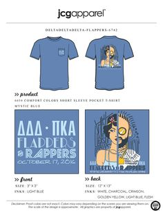 JCG Apparel : Custom Printed Apparel : Delta Delta Delta Flappers and Rappers T-Shirt #ddd #deltadeltadelta #tridelta #flappers #rappers #swap #mixer #greek