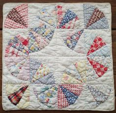 "Vintage 30s Feedsack Baby Bunting Doll or Table QUILT 15"" x 15"""
