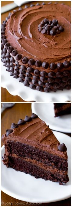Triple Chocolate Layer Cake-- heck YES! A reader favorite recipe. The best chocolate cake! Best Chocolate Cake, Chocolate Desserts, Choco Chocolate, Baking Recipes, Cake Recipes, Dessert Recipes, Sweets Cake, Cupcake Cakes, Just Desserts
