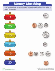 Kick-start money math early with this collection of kindergarten coin worksheets. Your kid will love learning about pennies, nickels, dimes and quarters for real-world application. Money Worksheets, School Worksheets, Kindergarten Worksheets, Teaching Money, Teaching Math, Teaching Geography, Money Activities, Preschool Writing, First Grade Math