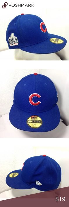 New Era 59fifty Chicago Cubs World Series Hat Pre owned with price tag and hologram decals still attached!  Fitted size 7 1/2  New Era 59Fifty Chicago Cubs 2016 World Series Champions.  The New Era patch on left side of hat is coming off due to improper seating during production but that could be reattached or even taken off if needed.  Buy it to wear it to the games or put it away as a momento from that great season!   Retail price $37.99 New Era Accessories Hats