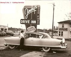 """The carhop provided carside service at a slew of """"drive in"""" restaurants during the 1950s"""