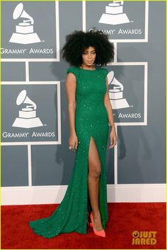 Solange Knowles - Grammys 2013 Red Carpet The 26-year-old entertainer rocked a flowing green Ralph & Russo Couture gown paired with Lorraine Schwartz jewels.