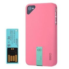 EGO Snap Hybrid Series Case Cover for iPhone 4 4S with 8GB USB Flash Drive - mix and match