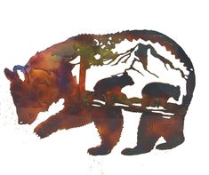 Excited to share this item from my shop: Bear With Cubs Metal Wall Art W/ Patina Finish Outdoor Metal Wall Art, Metal Tree Wall Art, Metal Art, North Carolina Lighthouses, Man Cave Metal, Deer Family, Patina Finish, Plasma Cutting, Bear Cubs