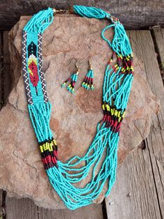 Cowgirl Bling Indian Native FEATHER Turquoise  beaded Gypsy necklace set