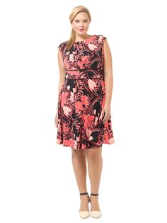 Pink Floral Printed Dress by @londontimes, Available in sizes 10/12 and 14W-24W