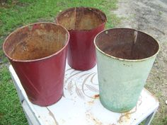 Vintage Chippy Rusty Primitive Tin Sap Buckets by AlloftheAbove, $30.00