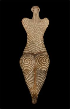 A fired clay Cucuteni-Trypillian figurine (4050-3900 BCE). At their height, the Cucuteni-Trypillian society built the largest Neolithic settlements in Europe, with some housing up to 15,000 people. The Cucuteni-Trypillian culture was matriarchal, the women were the heads of the household and also did the agricultural work and made pottery, textiles and clothing.