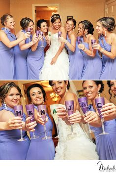 Bride & bridesmaids toast while getting ready at Spring Mill Manor in Ivyland, PA.  Photos by Michael's Photography in Bensalem, PA.