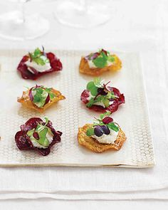 For a finger-friendly app serve fried beet chips topped with a dollop of the tangy cheese(vegan) and vinaigrette-laced micro greens. They make perfect hors d'oeuvres -- crispy instead of juicy beets means no one will be caught red-handed.
