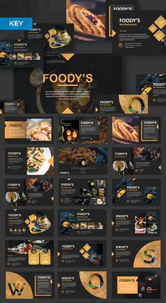 Foody Keynote by templatehere on Envato Elements Food Web Design, Food Graphic Design, Ppt Design, Slide Design, Layout Design, Booklet Design, Design Posters, Keynote Presentation, Design Presentation