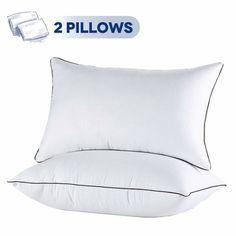 JOLLYVOGUE 2 Pack Bed Pillows for Sleeping-Hypoallergenic Sleeping Pillows for Side and Back Sleeper Hotel Pillows Down Alternative Pillow with Super Soft Plush Fiber Fill-Standard Size Best Bed Pillows, Hotel Pillows, Soft Pillows, Wash Pillows, Pillow Set, King Size Pillows, Side Sleeper Pillow, Dogue De Bordeaux, Furniture