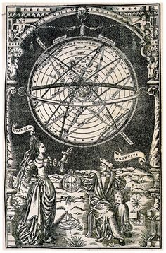 Illustration of Oronce Fine, Astronomy personified and an armillary sphere, 1542