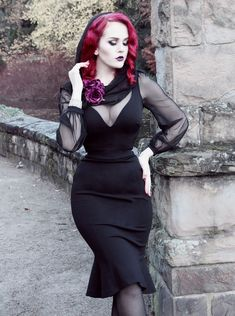 4aacaab786e5c Mila Gown in Black Ponte by Elvira Mistress of the dark for pinup couture  couture for