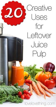 20 Creative Uses for Leftover Juice Pulp: 1. Compost It. 2. Worm It. 3. Broth It. 4. Broth It, Veggie Style. 5. Sprinkle it on top of your pet's dinner for a healthy treat. 6. Egg It. 7. Cracker It. 8. Smoothie It. 9. Make Carrot Halwa – a traditional Indian dessert. 10. Gravy It. 11. Leather It. 12. Powder It. 13. Bake it. 14. Soup It. 15. Breakfast It. 16. Ball It. 17. Meatball It. 18. Spread It. 19. Freeze It. 20. Pop It