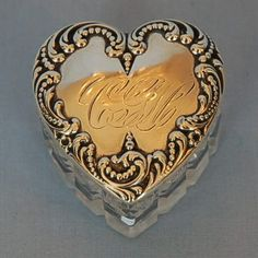 19th Century American Cut Glass & Sterling Silver Heart-shaped Dresser Box by Foster & Bailey