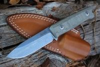 Lionsteel B40 Bushcraft Knife Green Canvas Micarta Bushcraft Knives, Italy, Canvas, Green, Tela, Italia, Canvases