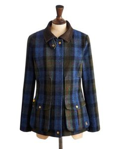 Joules Womens Semi-Fitted Tweed Field Coat, Green Mr Toad Tweed. -- Plaid Color, over $300 never looked so tempting in a coat