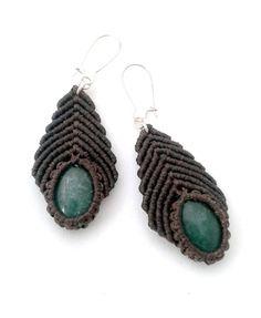 Aventurine handmade macramé earrings