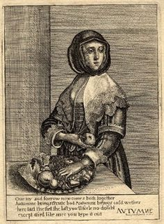 Autumn by Peregrine Lowell after Hollar in reverse.  1647  Etching