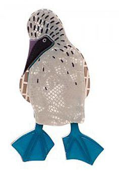 Erstwilder Blue Footed Booby Bird Brooch.
