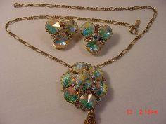 Vintage Monet Aurora Borealis Rhinestones Necklace / Brooch &