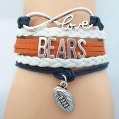 Infinity Love Chicago Bears Football Bracelet