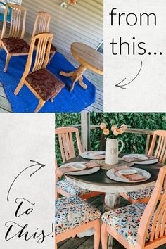 """The very first step to this big transformation was to create a cute """"dining"""" area. She stumbled across this dining table set, and knew it was the perfect fit… after she remodels it, of course! #TableMakeOver #OutdoorDining #DiningTableIdeas Dining Area, Summer Furniture, Painting Furniture Diy, Outdoor Dining, Dining Table Makeover, Dining Table Setting, Outdoor Dining Area, Dining, Table Makeover"""