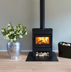 Home Fireplace, Stove, Home And Living, Home Living Room, House Interior, Wood Burning Stove, Apartment Decor, Freestanding Fireplace, Home Deco