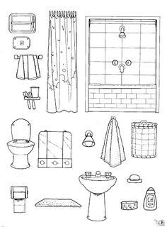 Bathroom: color, cut and glue activity Parts of the house cut outs Quiet Book Templates, Quiet Book Patterns, Paper Doll House, Paper Houses, Colouring Pages, Coloring Books, Paper Toys, Paper Crafts, Home Themes