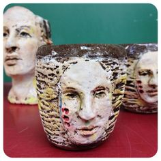 Cups by Debra fitts .. Roll out or make a face and attach to mug or cup