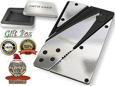 Credit Card Knife In Gift Box : Polished Silver Credit Card Knife Gift High Quality With A Lifetime Guarantee!
