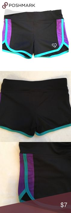 Live Love Dream booty shorts/spandex Black booty shorts with purple and turquoise detailing on the sides, the purple on the side is sheer, no stains, lightly used, size XS Aeropostale Other