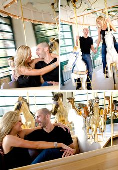 On the merry-go-round ~ engagement shoot at the Santa Barbara Zoo!