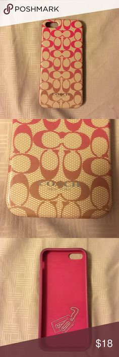 iPhone 5 Coach case iPhone 5 phone case. Have used for a couple months. Still in really great condition. Minor discoloration on corners. Coach Accessories Phone Cases