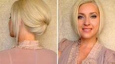 Short hair updo for work office job interview Elegant hairstyle for medium long shoulder length hair, via YouTube.